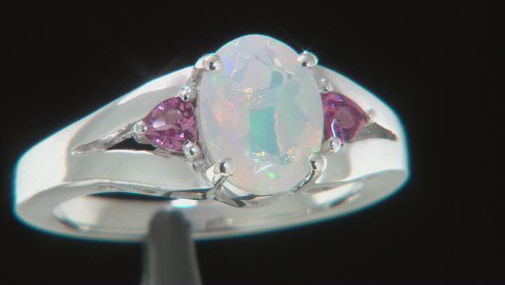 Multicolor Ethiopian Opal Rhodium Over Silver 3-Stone Ring 1.05ctw