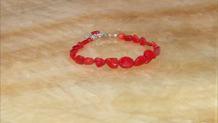 Red Ethiopian Opal Rhodium Over Sterling Silver Bead Bracelet