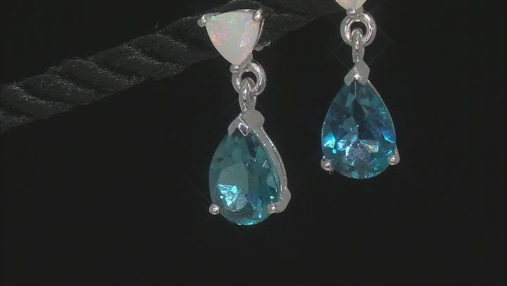 London Blue Topaz Rhodium Over Sterling Silver Dangle Earrings 4.43ctw