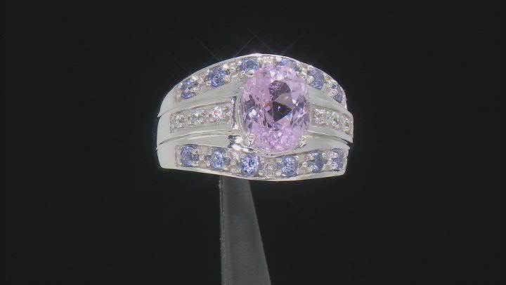 Kunzite Rhodium Over Sterling Silver Ring 2.59ctw
