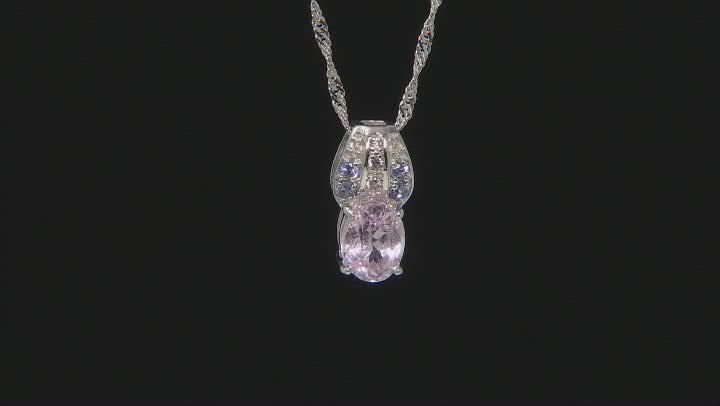 Pink Kunzite Rhodium OverSilver Pendant With Chain 2.25ctw