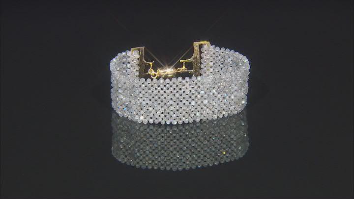 Gray Labradorite 18k Yellow Gold Over Sterling Silver Bracelet