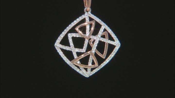 White Diamond 14k Rose And White Gold Pendant .39ctw