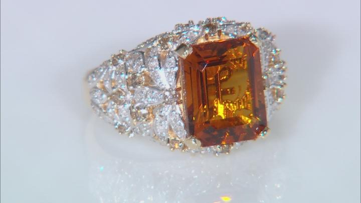 Madeira Citrine and White Diamond 14k Yellow Gold Ring 3.93ctw