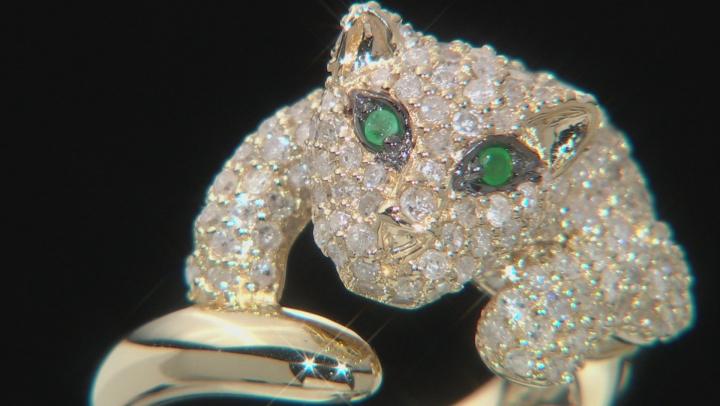 Green Emerald & White Diamond 14k Yellow Gold Ring 1.84ctw