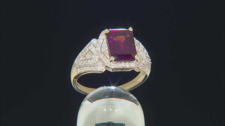 Grape Color Garnet And White Diamond 14k Yellow Gold Ring 3.07ctw
