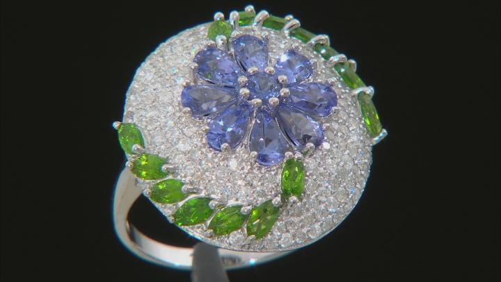 Blue Tanzanite, Green Chrome Diopside, & White Diamond 14K White Gold Ring 3.96ctw