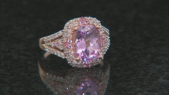 Kunzite, White Diamond And Pink Sapphire 14k Rose Gold Ring 4.48ctw