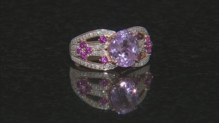 Pink Kunzite, Grape Color Garnet, And White Diamond 14K Rose Gold Ring 4.22ctw