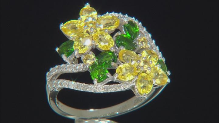 Yellow Sapphire, Green Chrome Diopside, & White Diamond 14K White Gold Ring 3.26ctw
