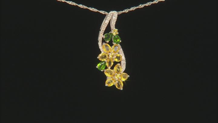 Yellow Sapphire, Green Chrome Diopside, And White Diamond 14K White Gold Pendant 2.89ctw