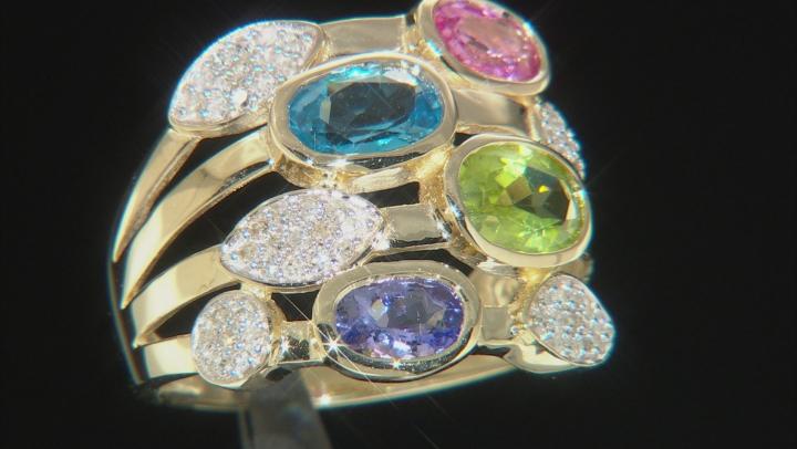 Multi-Gemstone And White Diamond 14K Yellow Gold Ring 3.00ctw