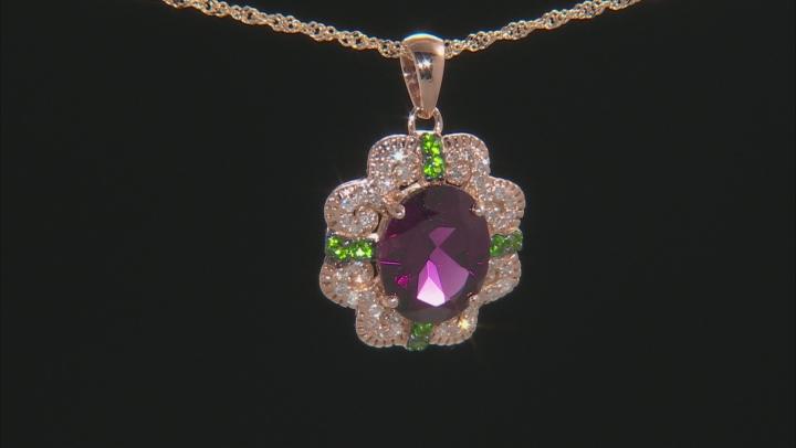 Grape Color Garnet, Green Chrome Diopside, & White Diamond 14K Rose Gold Pendant 2.66ctw
