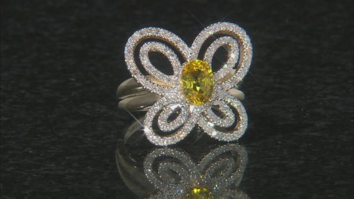Yellow Sapphire And White Diamond 14K Yellow Gold Ring 1.29ctw