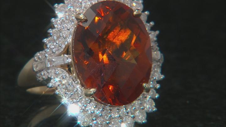Orange Madeira Citrine And White Diamond 14K Yellow Gold Ring 8.92ctw