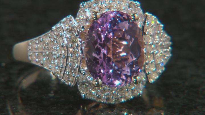 Pink Kunzite And White Diamond 14K Yellow Gold Ring 3.67ctw