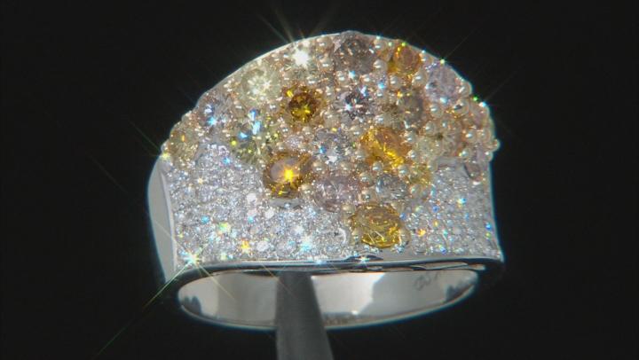 Natural Multi-Color Diamond 14K White Gold Ring 2.81ctw