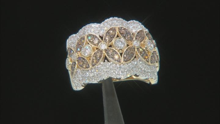Champagne & White Diamond 14K Yellow Gold Ring 1.50ctw