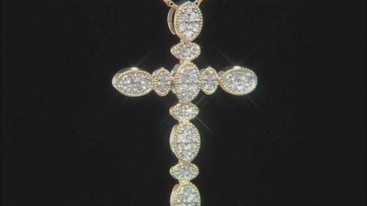 White Diamond 14K Yellow Gold Cross Pendant 0.25ctw
