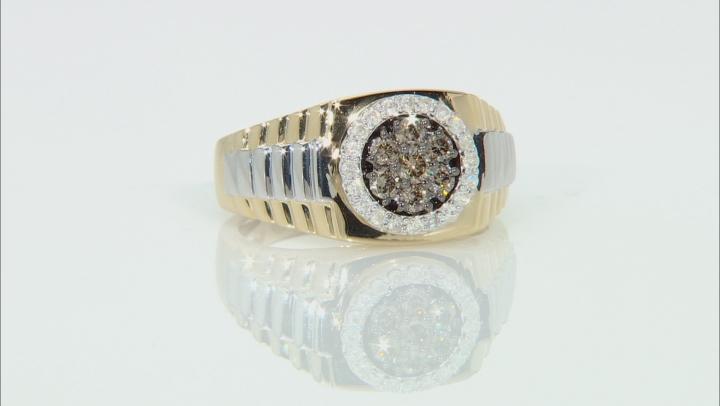 Champagne & White Diamond 14K Two-Tone Gold Mens Ring 0.75ctw