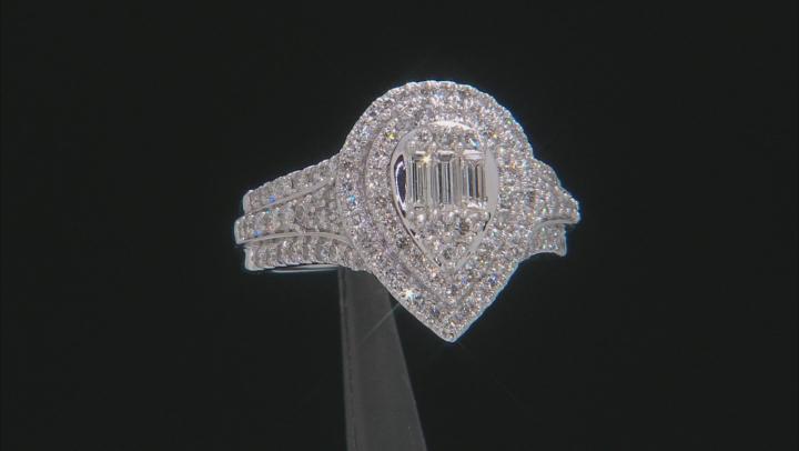 White Diamond 14K White Gold Cluster Ring 1.25ctw