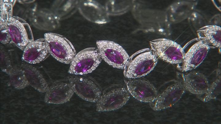 Grape Color Garnet & White Diamond 14K White Gold Tennis Bracelet 7.79ctw