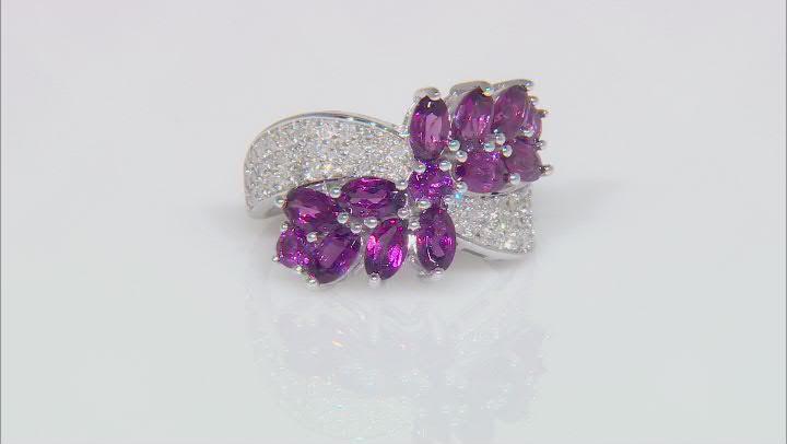 Grape Color Garnet & White Diamond 14K White Gold Crossover Ring 3.72ctw
