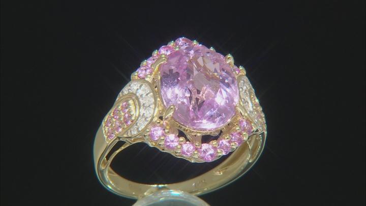Pink Kunzite, Pink Sapphire & White Diamond 14K Yellow Gold Cocktail Ring 6.54ctw