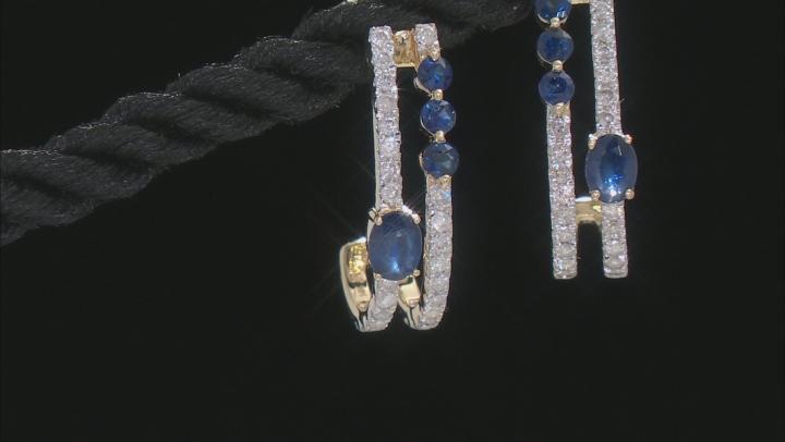 Blue Sapphire And White Diamond 14k Yellow Gold J-Hoop Earrings 1.03ctw