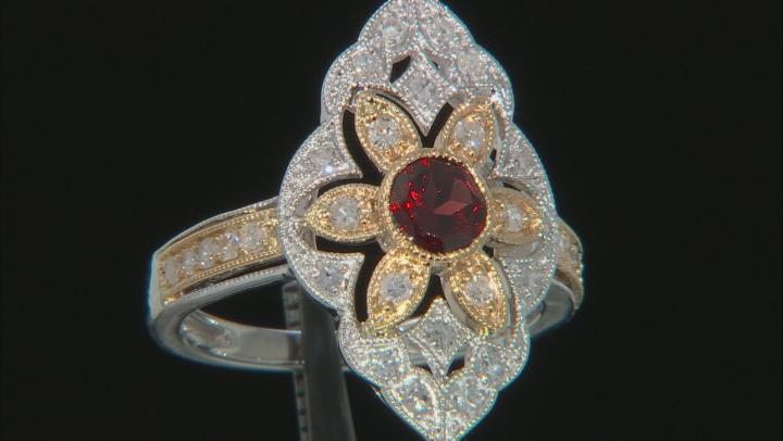 Red Garnet & White Diamond 14K Two-Tone Gold Cocktail Ring 1.05ctw