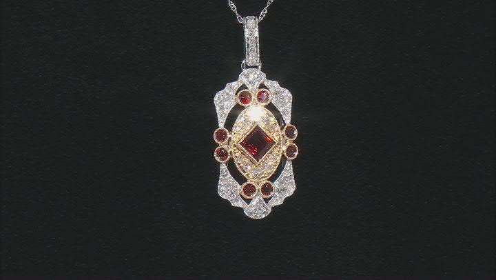 Red Garnet & White Diamond 14K Two-Tone Gold Pendant 1.65ctw