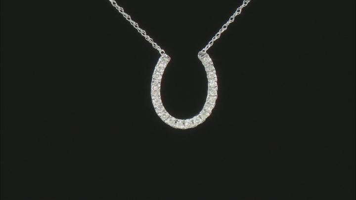 White Diamond 14K White Gold Horseshoe Necklace 0.20ctw