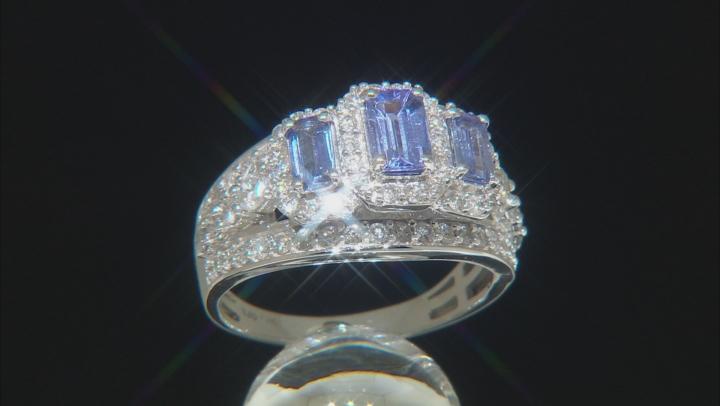 Blue Tanzanite And White Diamond 14K  White Gold 3-Stone Ring 2.10ctw