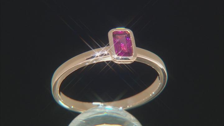 Grape Color Garnet 14k Rose Gold Solitaire Ring 0.34ct