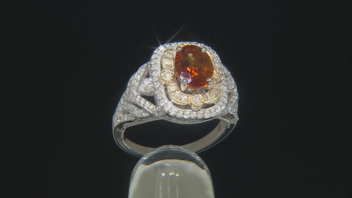 Orange Madeira Citrine And White Diamond 14k Two-Tone Gold Center Design Ring 2.25ctw