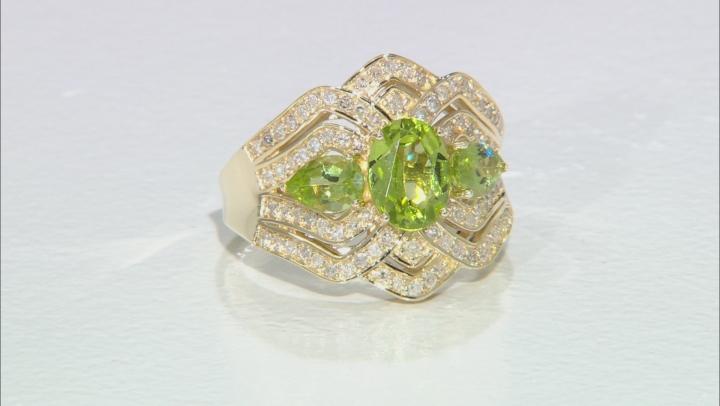 Green Peridot And White Diamond 14k Yellow Gold 3-Stone Ring 2.28ctw