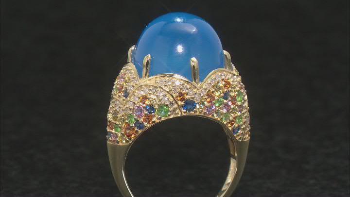 Blue Chalcedony, Multi-Color Sapphire, Tsavorite Garnet & Diamond 14k Gold Ring 2.25ctw