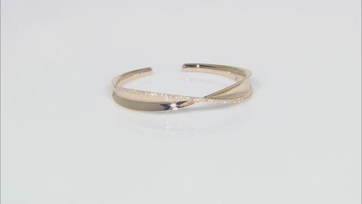 White Diamond 14k Yellow Gold Cuff Bracelet 0.75ctw