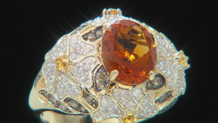 Madeira Citrine, Brazilian Citrine & Diamond 14k Yellow Gold Dome Ring 3.00ctw