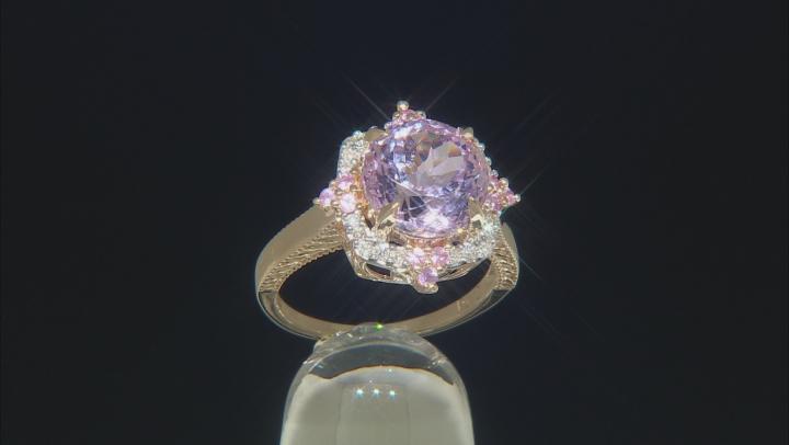 Pink Kunzite, Pink Sapphire And White Diamond 14k Yellow Gold Center Design Ring 4.22ctw