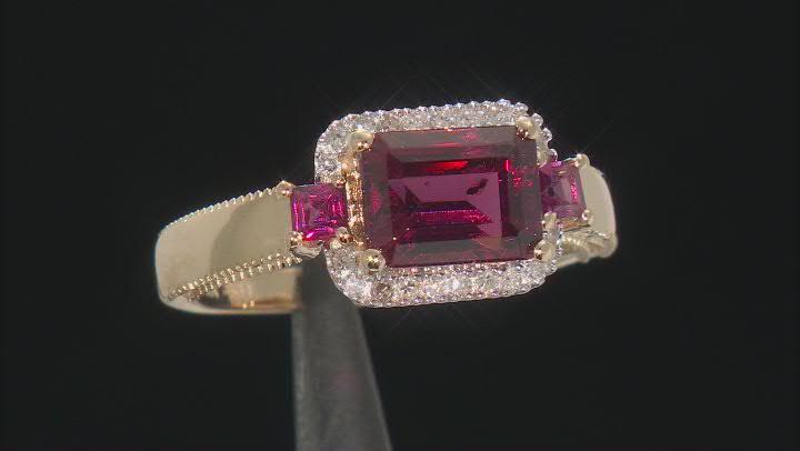 Rhodolite Garnet And White Diamond 14k Yellow Gold Halo Ring 1.89ctw
