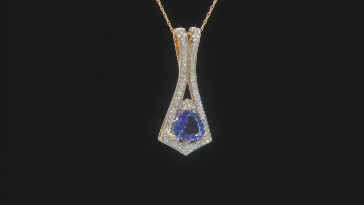 "Blue Tanzanite And White Diamond 14k Yellow Gold Drop Pendant With 18"" Singapore Chain 1.89ctw"