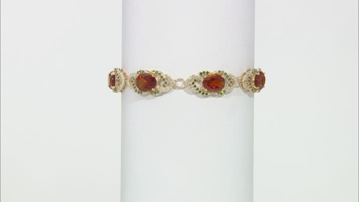 Madeira Citrine With Green And White Diamond 14k Yellow Gold Tennis Bracelet 11.20ctw