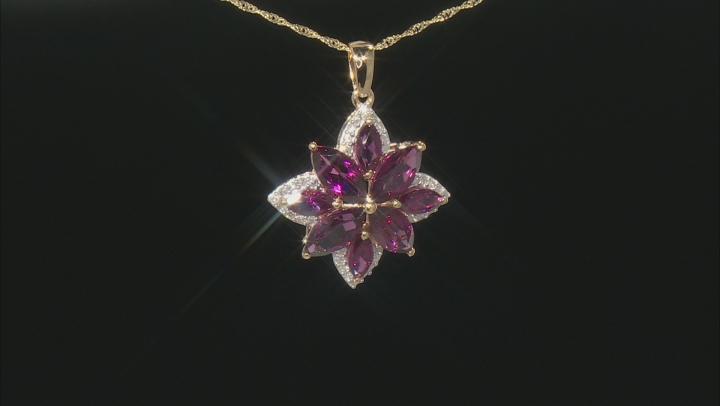 "Rhodolite Garnet And White Diamond 14k Yellow Gold Flower Pendant With 18"" Singapore Chain 6.37ctw"