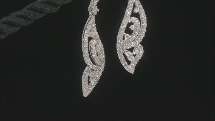 White Diamond 14k White Gold Butterfly Dangle Earring 0.75ctw