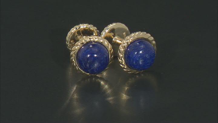 Blue Lapis Lazuli Cabochon 14k Yellow Gold Cufflinks