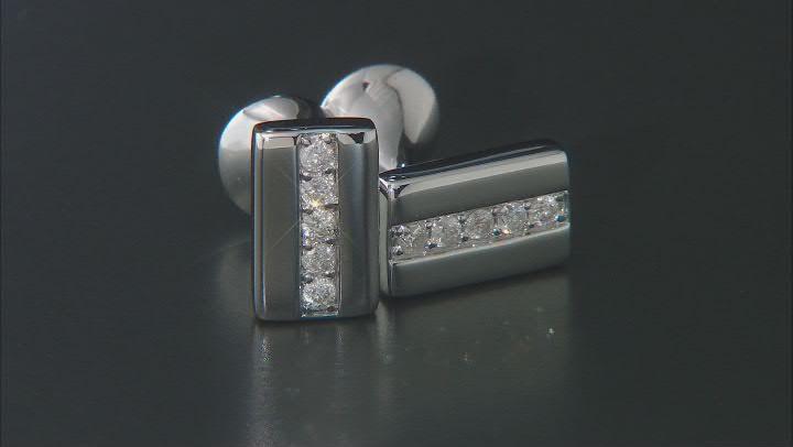 White Diamond 14k White Gold Cufflinks 0.33ctw