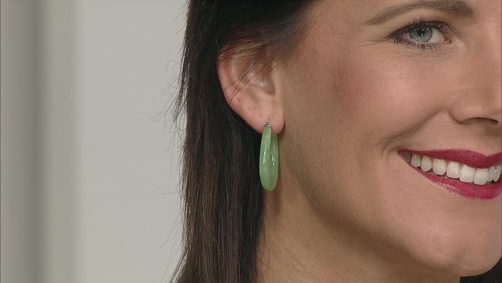 Green Jadeite Rhodium Over Sterling Silver Hoop Earrings