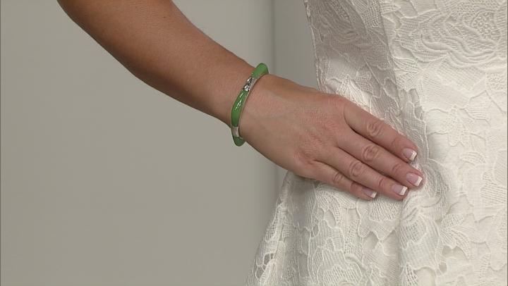 Green Jadeite Sterling Silver Hinged Bangle Bracelet