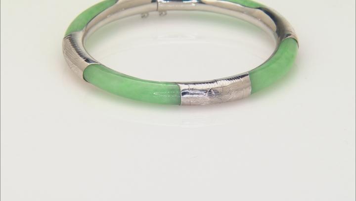 Green Jadeite Sterling Silver Bangle Bracelet